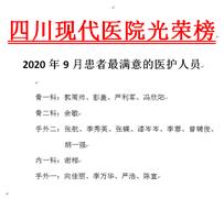 四川現代醫院2020年9月患者滿意度